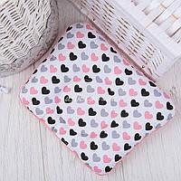 """Подушка для новорожденных с плюшем minky """"Сердечки серо-лососевые"""""""
