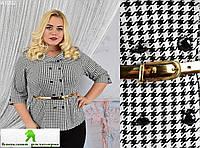 Женский пиджак принт Гусиная лапка батальные размеры 50-54