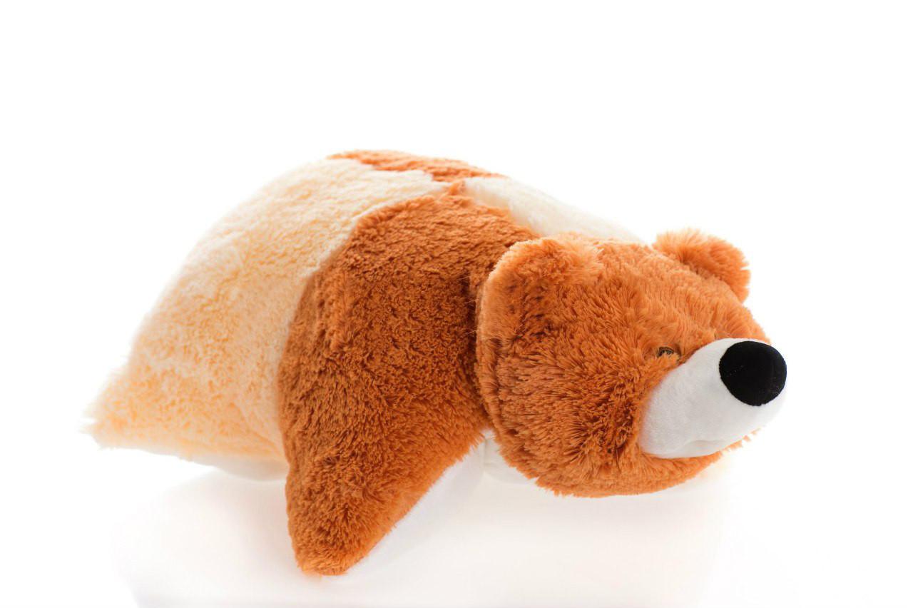 Подушка Алина мишка 55 см коричневый и персиковый
