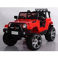Детский электромобиль джип внедорожник M 3470 EBLR-1 белый Ева колеса и кожа сиденья