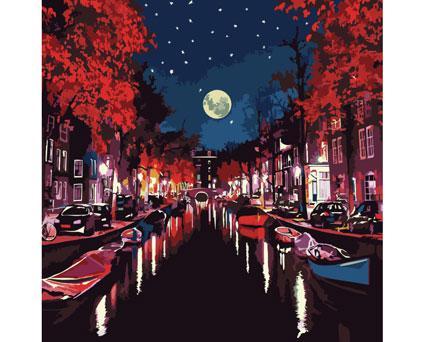 Картина по номерам Роспись на холсте Городской пейзаж Ночью в Амстердаме  КНО2151
