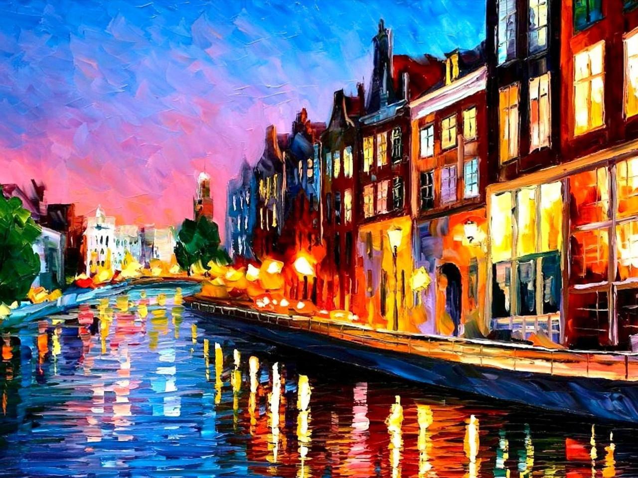 Картина по номерам Роспись на холсте Городской пейзаж Вечерний Амстердам КНО2142 без коробки