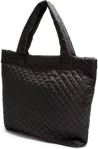 Женская дутая сумка на двух ручках POOLPARTY Арт. pp1-eco черная, серая