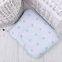 """Подушка для новорожденных с плюшем minky """"Мятные звёзды на белом"""""""