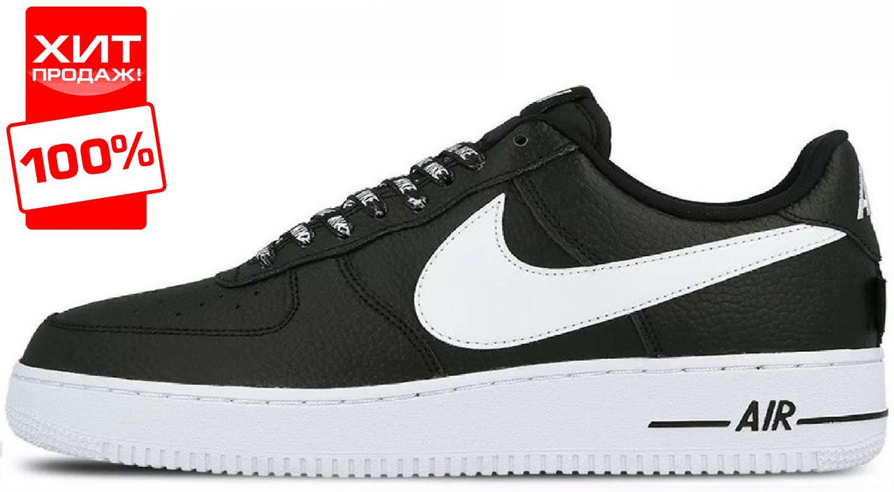 d28bea948eea Мужские кроссовки Nike Air Force 1  07 LV8 NBA Black White (Hайк Аир ...