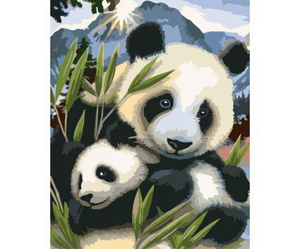 Картина по номерам Роспись на холсте Панды Дружные ребята КНО4005