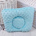 """Подушка для новорожденных с плюшем minky """"Серо-бирюзовые зигзаги"""", фото 2"""