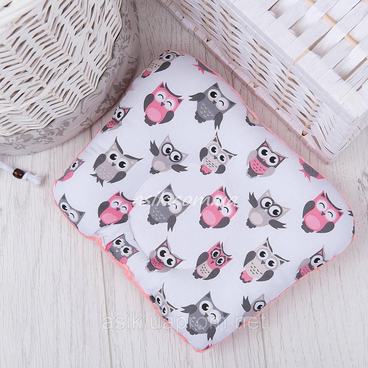 """Подушка для новорожденных с плюшем minky """"Серо-розовые совушки"""""""