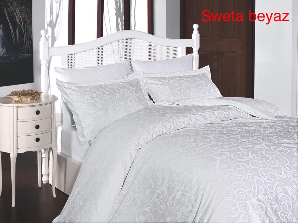Постельное белье сатин First Choice (евро-размер) № Sweta Beyaz