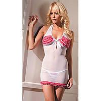 Розово-белое мини-платье с трусиками