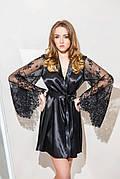 Женский атласный халат с роскошным кружевным рукавом Черный