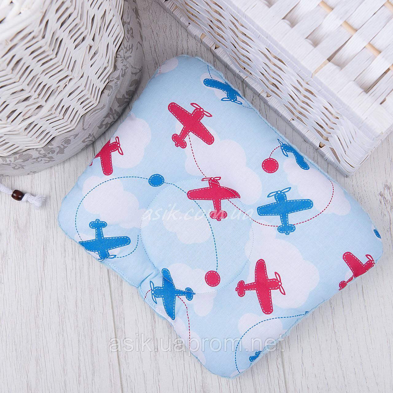 """Подушка для новорожденных с голубым плюшем minky """"Самолёты"""""""