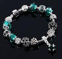 Браслеты в стиле Пандора Pandora с подвеской кристалл, разные цвета