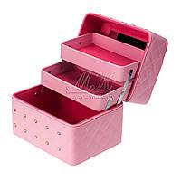 """Кейс """"Диамант"""" с выдвижными полочками для хранения косметики, бижутерии, светло-розовый"""
