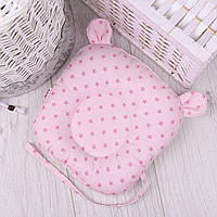 """Подушка для новорожденных с держателем для пустышки """"Мишка"""" с розовыми звёздочками"""