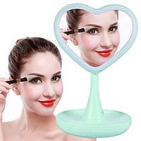 Зеркало для макияжа с подсветкой и тайником. Сердце Зеленое, фото 1