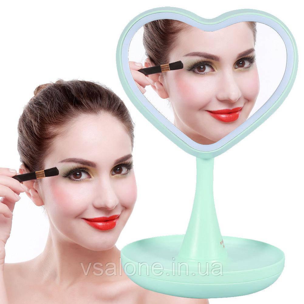 Зеркало для макияжа с подсветкой и тайником. Сердце Зеленое