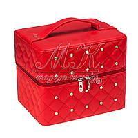 """Кейс """"Диамант"""" с выдвижными полочками для хранения косметики, бижутерии, красный"""