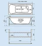 Гидромассажная ванна с врезным смесителем Triton Джулия, 1600х700х560 мм, фото 2