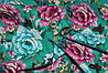 Ткань Лен цветы на зеленом фоне