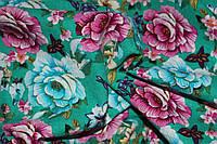 Ткань Лен цветы на зеленом фоне , фото 1