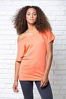 Модная женская футболка с широким вырезом,  однотонная, JHK T-shirt , Испания, 100% хлопок, S, M, L
