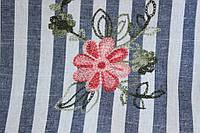 Ткань Лен полоса с вышивкой