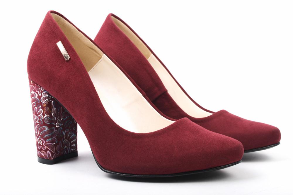 Туфли женские модельные Zan Zara эко-замш, цвет бордо (каблук, стильные, Польша)
