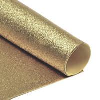 Фоамиран 2 мм с глиттером 20х30 см Светло-золотой самоклейка 1 шт, фото 1