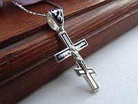 Срібний хрест з чорною емаллю, фото 1