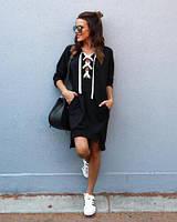 Трикотажные платья свободного кроя с карманами, на шнуровке