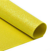 Фоамиран 2 мм с глиттером 20х30 см Лимонный желтый Самоклейка 1 шт