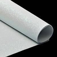 Фоамиран 2 мм с глиттером 20х30 см Белый Самоклейка 1 шт, фото 1