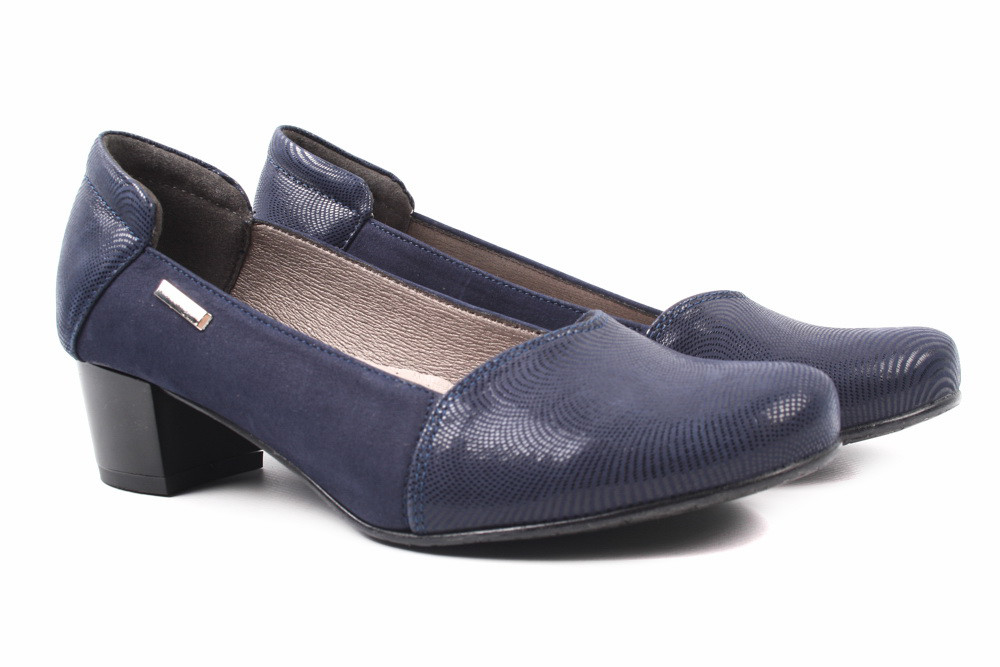 Туфли женские Korzeniowski натуральный замш, цвет синий (каблук, стильные, Польша)
