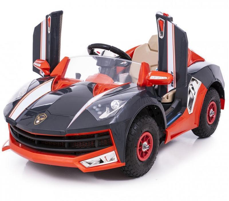 Детский электромобиль Lamborghini M8188 черный на резиновых колесах и радиоуправлении
