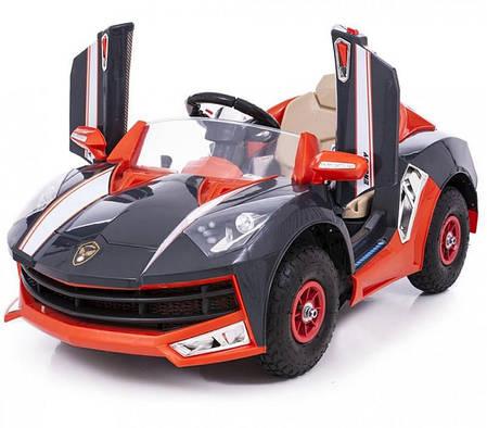 Детский электромобиль Lamborghini M8188 черный на резиновых колесах и радиоуправлении, фото 2