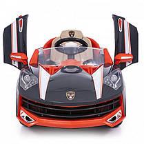 Детский электромобиль Lamborghini M8188 черный на резиновых колесах и радиоуправлении, фото 3