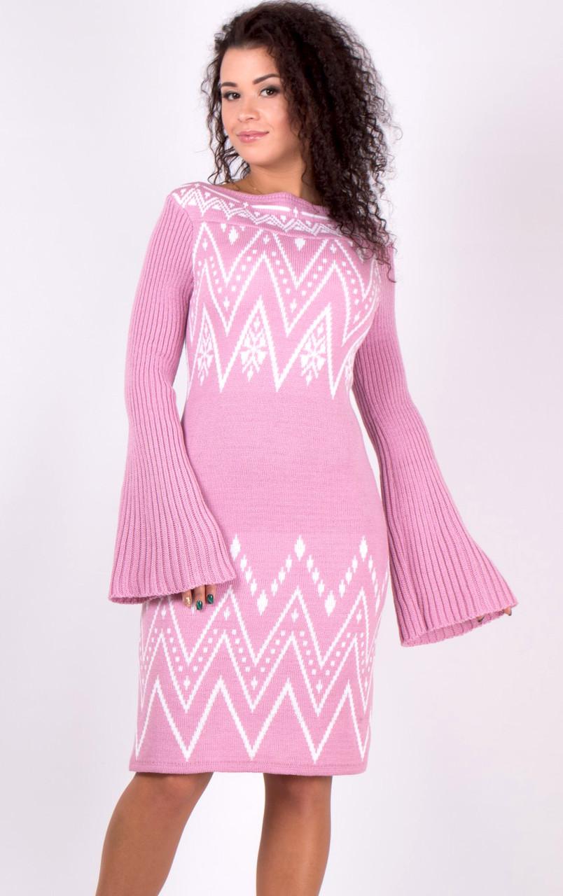 Вязаное платье с красивым рисунком (в расцветках 46-48)