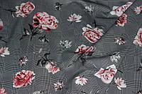 Ткань трикотаж тонкий дайвинг клетка цветы №2