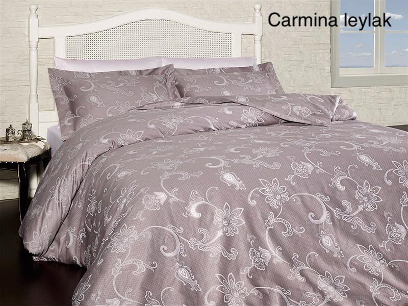 Постельное белье сатин First Choice (евро-размер) № Carmina Leylak