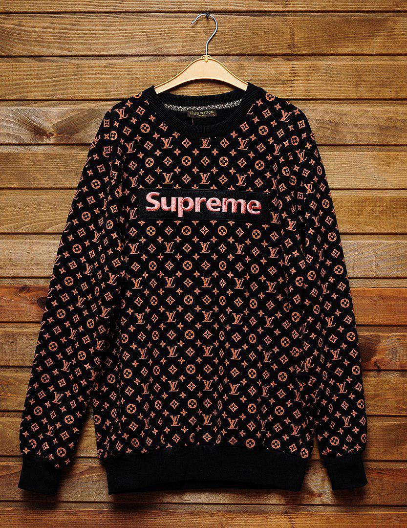 Мужской СВИТШОТ Supreme   Louis Vuitton (в стиле Луи Витон x Суприм) Black, 36795fc8aae