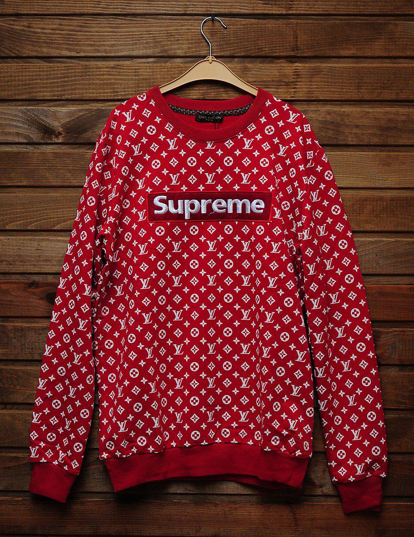 bb47fb67302a Мужской СВИТШОТ Supreme & Louis Vuitton (в стиле Луи Витон x Суприм)  Black,Red,White 🔥 : продажа, цена ...