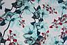 Ткань супер софт ветки с крупными цветами на молочном фоне №2(мята)