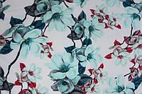 Ткань супер софт ветки с крупными цветами на молочном фоне №2(мята), фото 1