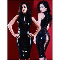Длинное черное облегающее виниловое платье