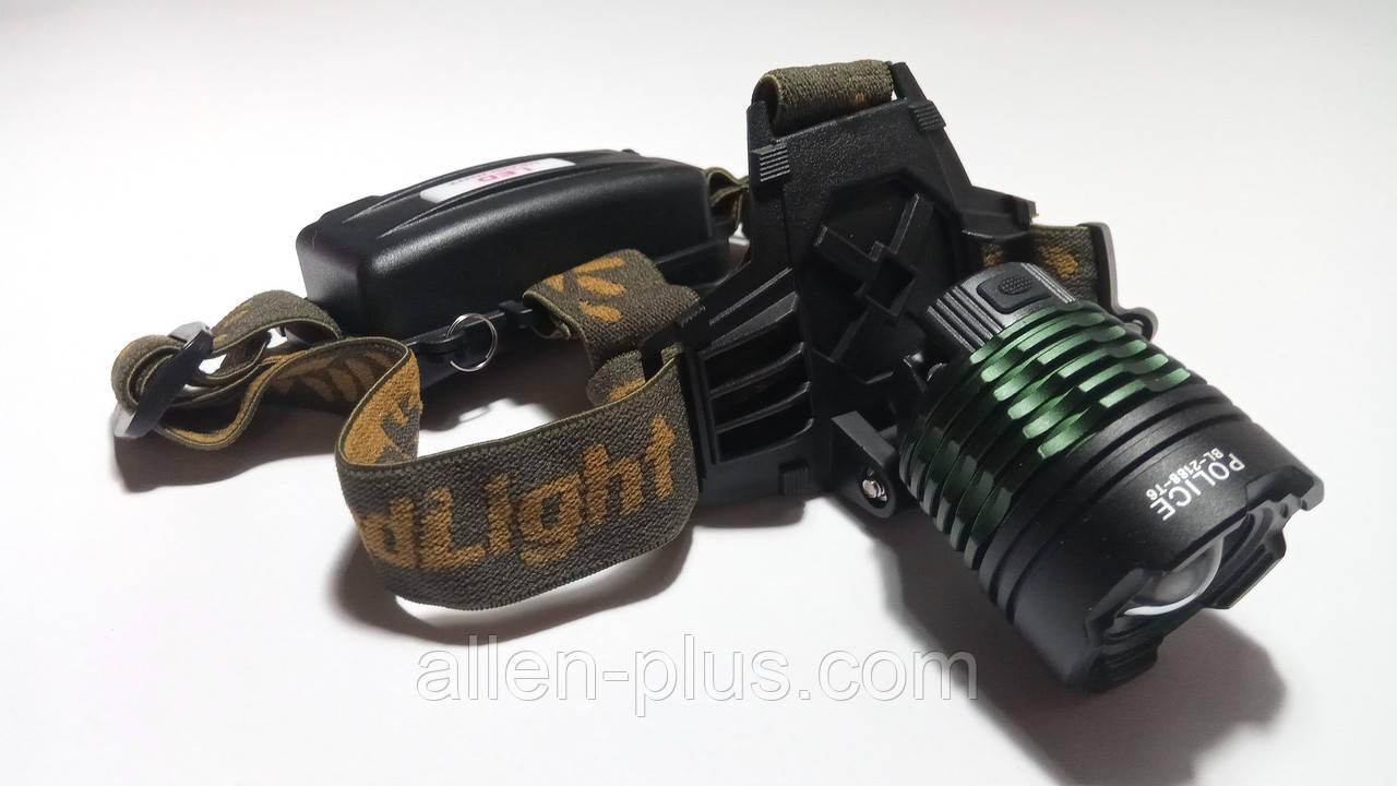 Фонарь аккумуляторный налобный WD047 / BL-2188-T6, XM-L, T6 (zoom, 2х18650, 3 режима)