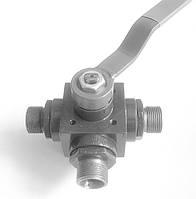 Кран шаровый стальной высокого давления трехходовой штуцерно-ниппельный Ду10 Ру320