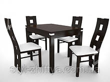 Великий стіл інкрустований алюмінієм з 4 кріслами