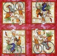 Салфетки декупажные Весёлые повара (бордовый фон) 471