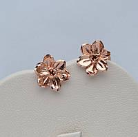 Серьги-гвоздики Золотой цветок фирма Xuping покрытие розовым золотом 18к.